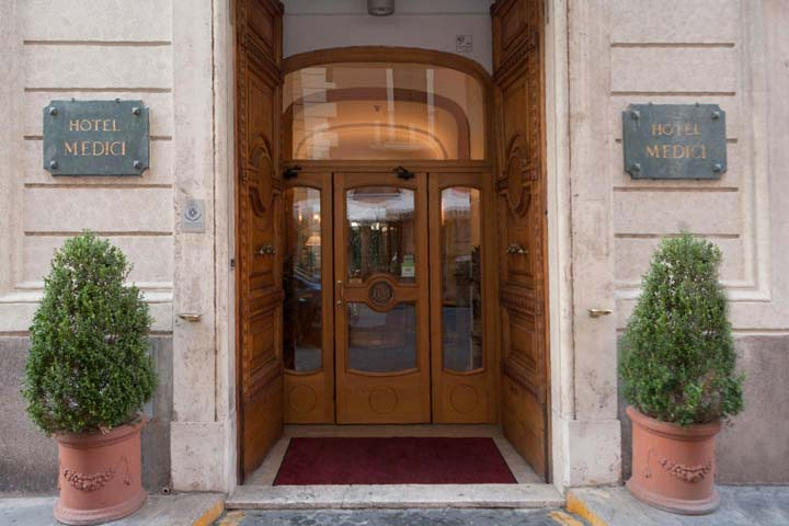The entrance of Hotel Medici in Rome